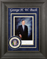 George H. W. Bush Signed 15.5x20 Custom Framed Photo Display (Beckett COA) at PristineAuction.com
