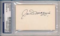 Joe DiMaggio Signed 3x5 Cut (PSA Encapsulated) at PristineAuction.com