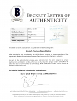 Harry S. Truman Signed 1946 Letter (Beckett LOA) at PristineAuction.com