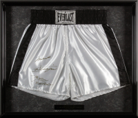 Muhammad Ali, Joe Frazier & Ken Norton Signed 24.5x28 Custom Framed Boxing Trunks (Beckett LOA) at PristineAuction.com