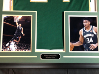 Giannis Antetokounmpo Signed 34.5x42.5 Custom Framed Jersey (JSA COA) at PristineAuction.com