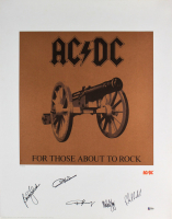"""AC/DC LE """"For Those About to Rock"""" 22x28 Lithograph Band-Signed by (5) with Angus Young, Malcolm Young, Brian Johnson, Phil Rudd & Cliff Williams (Beckett LOA) at PristineAuction.com"""