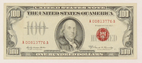 1966-A $100 One Hundred-Dollar Red Seal U.S. Legal Tender Bank Note at PristineAuction.com