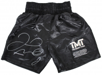 Floyd Mayweather Jr. Signed LE Career Highlight Stat Boxing Trunks (Beckett COA) at PristineAuction.com