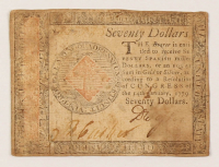 1779 $70 Seventy-Dollar - Continental - Colonial Currency Note at PristineAuction.com