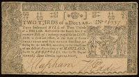 1774 $2/3 Two-Thirds of a Dollar - Maryland - Colonial Currency Note at PristineAuction.com