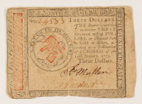 1779 $3 Three-Dollar - Continental - Colonial Currency Note at PristineAuction.com