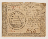 1778 $50 Fifty-Dollar - Continental - Colonial Currency Note at PristineAuction.com