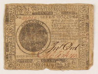 1775 $7 Seven-Dollar - Continental - Colonial Currency Note at PristineAuction.com