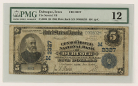 1902 $5 Five-Dollar U.S. National Currency Large-Size Bank Note - The Consolidated National Bank of Dubuque, Iowa (PMG 12) at PristineAuction.com