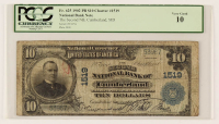 1902 $10 Ten-Dollar U.S. National Currency Large-Size Bank Note - The Second National Bank of Cumberland, Maryland (PCGS 10) at PristineAuction.com