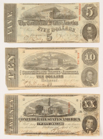 Lot of (3) 1863 Confederate Bank Notes with $20, $10, & $5 at PristineAuction.com