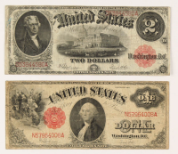 Lot of (2) 1917 Red Seal U.S. Legal Tender Large-Size Bank Notes with $2 & $1 at PristineAuction.com