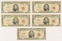 Lot of (5) 1963 $5 Five-Dollar Red Seal U.S. Legal Tender Notes at PristineAuction.com
