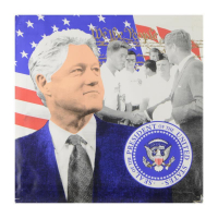 "Steve Kaufman Signed ""We the People - President Clinton"" Hand Pulled Limited Edition 36x36 Silkscreen on Canvas AP #20/50 at PristineAuction.com"
