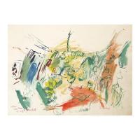 "Wayne Ensrud Signed ""Green Salon of Chateau Lafite Rothschild"" 20x27 Watercolor Original Artwork at PristineAuction.com"