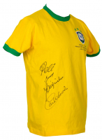 1970 Team Brazil Jersey Signed By (4) With Pele, Gerson, Jairzinho, & Carlos Alberto Torres (PSA COA) at PristineAuction.com