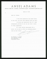 Ansel Adams Signed Authentic 8.5x11 Letter (PSA LOA) at PristineAuction.com