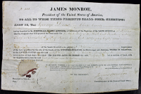 James Monroe Signed 1824 9x14 Land Grant Document (PSA LOA) at PristineAuction.com