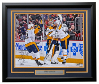 "Pekka Rinne Signed Predators 22x27 Custom Framed Photo Display Inscribed ""1st NHL Goal 1/9/20"" (Fanatics Hologram) at PristineAuction.com"