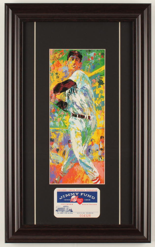 "LeRoy Neiman ""Ted Williams"" 11x18 Custom Framed Print Display with 1959 Jimmy Fund Card at PristineAuction.com"