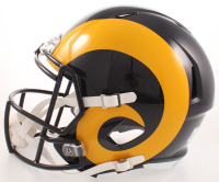 Isaac Bruce Signed Rams Full-Size Throwback Speed Helmet (Beckett COA) at PristineAuction.com