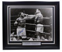 Muhammad Ali & Joe Frazier Signed 27x22 Custom Framed Photo Display (JSA LOA) at PristineAuction.com