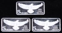 Lot of (3) 5 Gram Monarch Mint Eagle Design Silver Bullion Bars at PristineAuction.com