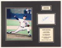 Tom Seaver Signed Mets 14x18 Custom Matted Index Card Display (JSA COA) at PristineAuction.com