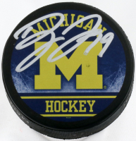 Dylan Larkin Signed Michigan Wolverines Logo Hockey Puck (Fanatics Hologram) at PristineAuction.com