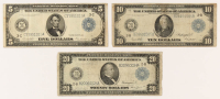 Lot of (3) 1914 Blue Seal U.S. Large-Size Federal Reserve Notes with $20, $10, & $5 at PristineAuction.com