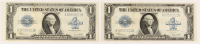 Lot of (2) 1923 $1 One-Dollar Blue Seal Large-Size Silver Certificate Bank Notes with Consecutive Serial Numbers at PristineAuction.com