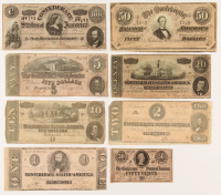 Lot of (8) 1862-1864 Confederate Bank Notes with $100, $50, $20, $10, $5, $2, $1, & 50¢ at PristineAuction.com