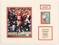 Jerry Rice Signed 49ers 14x18 Custom Matted Photo Display with 1986 Topps #161 RC Baseball Card (JSA COA) at PristineAuction.com