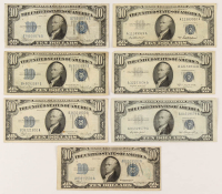 Lot of (7) $10 Ten-Dollar U.S. Silver Certificates with 1934, 1934-A, 1934-C, 1934-D, 1953, 1953-A, & 1953-B at PristineAuction.com