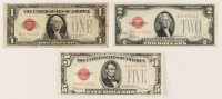 Set of (3) 1928 Red Seal U.S. Legal Tender Notes with $5, $2, & $1 at PristineAuction.com