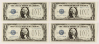 "Lot of (4) 1928-A ""Funny Back"" $1 One-Dollar U.S. Silver Certificates with Consecutive Serial Numbers at PristineAuction.com"
