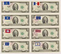 Lot of (8) 1976 First Day of Issue $2 Two-Dollar U.S. Federal Reserve Notes with Postmark & Stamps at PristineAuction.com