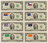 Lot of (8) 1976 First Day of Issue $2 Two-Dollar U.S. Federal Reserve Notes with Postmarks & Stamps at PristineAuction.com