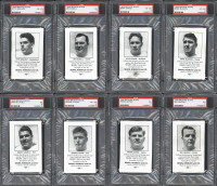 1946 Browns Sears Complete Set of (8) PSA Graded Football Cards with #5 Otto Graham (PSA 4), #2 Jim Daniell (PSA 5), #3 Fred Evans (PSA 4), #1 Ernie Blandin (PSA 4) at PristineAuction.com