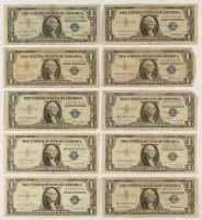 Lot of (10) 1935/1957 $1 One-Dollar U.S. Silver Certificates at PristineAuction.com