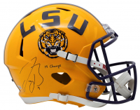 "Joe Burrow Signed LSU Tigers Full-Size Speed Helmet Inscribed ""19 Champs"" (Fanatics Hologram) at PristineAuction.com"