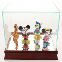 Set of (4) Vintage 1970's Disney Ceramic Figurines with Display Case at PristineAuction.com