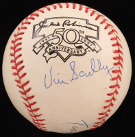Vin Scully & Tommy Lasorda Signed Jackie Robinson 50th Anniversary Logo ONL Baseball (PSA COA) at PristineAuction.com