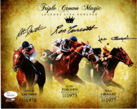"Ron Turcotte, Jean Cruguet, & Steve Cauthen Signed ""Triple Crown Magic"" 8x10 Photo (JSA COA) at PristineAuction.com"