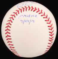 """Garin Cecchini Signed OML Baseball Inscribed """"1st MLB HR 9/24/14"""" (SidsGraphs COA) at PristineAuction.com"""