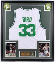 Larry Bird Signed Celtics 32x36 Custom Framed Jersey Display with Celtics Pin (Bird Hologram) at PristineAuction.com