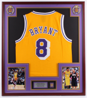Kobe Bryant Lakers 32x36 Custom Framed Jersey with 60 Point Game Pin at PristineAuction.com