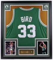 Larry Bird Signed Celtics 32x36 Custom Framed Jersey Display with Retirement Pin (Bird Hologram) at PristineAuction.com