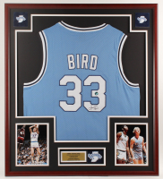Larry Bird Signed Indiana State Sycamores 32x36 Custom Framed Jersey Display with Indiana State Patch (Bird Hologram) at PristineAuction.com